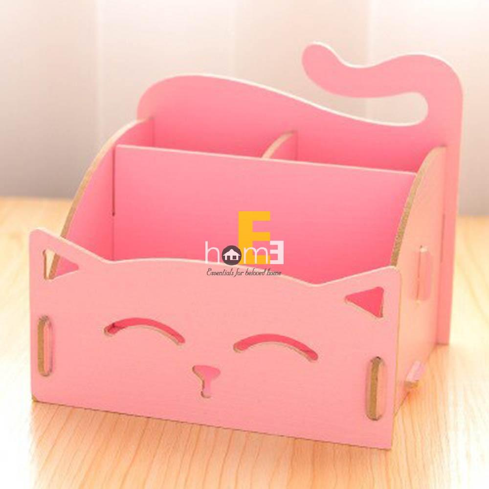 Khay gỗ đựng đồ nhiều ngăn hình mèo màu hồng MiniDeco027