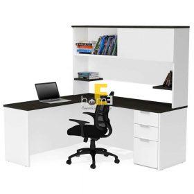 thiết kế bàn làm việc có kèm giá sách PPO007