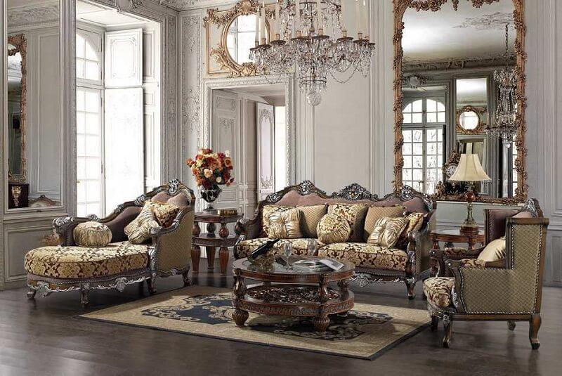 thiết kế bàn ghế gỗ phòng khách sang trọng, cổ điển châu Âu