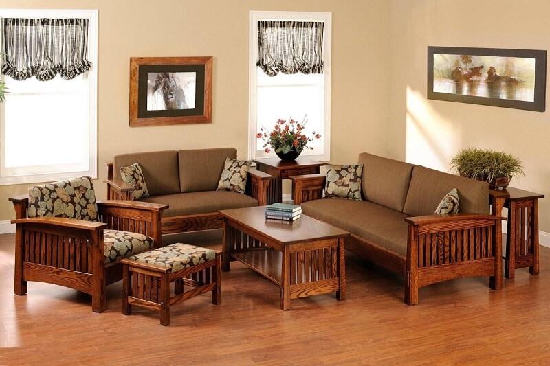 Bộ bàn ghế phòng khách màu socola